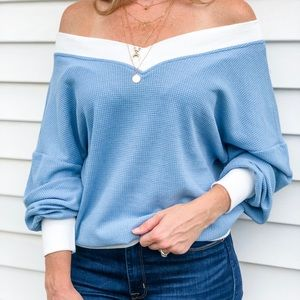 New worn once for pics. Blue off the shoulder top